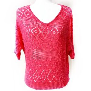 SO Junior's Knitted Red Cotton Blend Sweater